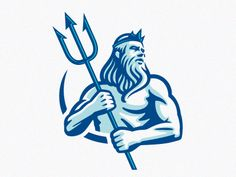Creative Logo, Neptune, Blue, and Illustration image ideas & inspiration on Designspiration Typography Logo, Logo Branding, Lettering, Water Branding, Poseidon Logo, Poseidon Tattoo, Logo Luxury, Beard Logo, Gym Logo