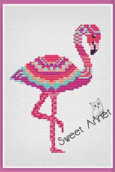 Flamingo Cross Stitch Pattern, Mandala cross stitch, Bird cross stitch, PDF pattern, Animals cross s Cross Stitch Heart, Simple Cross Stitch, Cross Stitch Animals, Modern Cross Stitch, Cross Stitch Flowers, Cross Stitch Designs, Cross Stitch Patterns Free Easy, Cross Stitching, Cross Stitch Embroidery