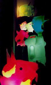 Bibi, arche, animaux plastiques, installations artistiques, bidon, polyéthylène, bibi artiste plasticien...