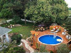 Decks Around Pools, Above Ground Pool Landscaping, Small Backyard Pools, Backyard Pool Landscaping, Backyard Pool Designs, Backyard Landscape Design, Luxury Landscaping, Backyard Ideas, Semi Inground Pool Deck