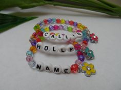 A personal favorite from my Etsy shop https://www.etsy.com/listing/214650733/girls-custom-stretchy-bracelet-with