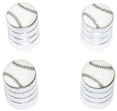 "Amazon.com : (4 Count) Cool and Custom ""Diamond Etching Baseball Top with Easy Grip Texture"" Tire Wheel Rim Air Valve Stem Dust Cap Seal Made of Genuine Anodized Aluminum Metal {Bright Mitsubishi Silver and White Colors - Hard Metal Internal Threads for Easy Application - Rust Proof - Fits For Most Cars, Trucks, SUV, RV, ATV, UTV, Motorcycle, Bicycles} : Sports & Outdoors"