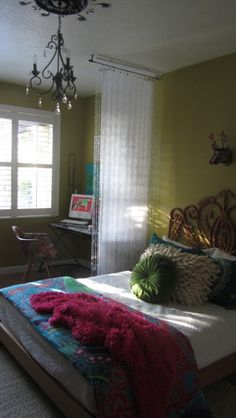 room divider - beaded curtain with sheer panel
