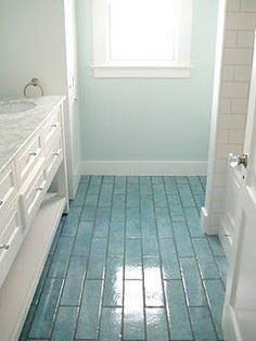 Love the colored floor tiles and coordinating wall color - idea for my rental house bathrooms! - Fox Home Design Style At Home, Dream Beach Houses, Beach Bathrooms, Coastal Bathrooms, Blue Bathrooms, Beach House Decor, Home Decor, Beach Condo, Beach House Interiors