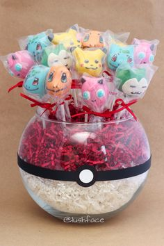 Pokemon cake pop bouquet for a birthday party! Jigglypuff, Pikachu, Bulbasaur, Charmander, and Snorlax. Made by yours truly! @lushface
