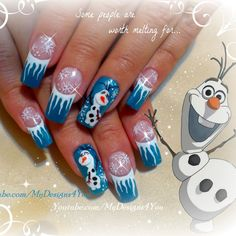This video tutorial shows how to create this festive nail art featuring Frozen's Olaf using nail polish and acrylic paint. Create this fun nail design like a pro today!