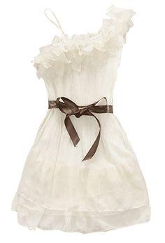 White One Shoulder Ruffles Dress