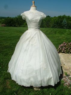 Vintage 1950s silk organza wedding dress bridal gown applique lace feminine romantic ballgownFrom RetroVintageWeddings