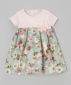 Loving this Truffles Ruffles Pink & Blue Cottage Rose Dress - Infant on #zulily! #zulilyfinds
