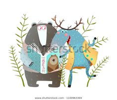 Find Reading Book Moose Bear Funny Forest stock images in HD and millions of other royalty-free stock photos, illustrations and vectors in the Shutterstock collection. Tier Wallpaper, Animal Wallpaper, Animals And Pets, Baby Animals, Funny Animals, African Big Cats, Illustration Art Drawing, Friends Illustration, Funny Illustration