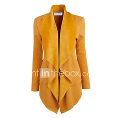 Women's Going out Casual/Daily Simple Street chic Spring Fall Jacket,Solid Shirt Collar Long Sleeve Long Polyester 2017 - $17.99