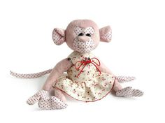 Plush monkey in a dress funny gift for kids! Old price, a new dress! Get twice - now a cute pink monkey has a beautiful dress. It can be