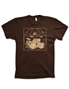Davinci drummer shirt funny music shirt drumming shirt percussion tshirts, Brown, Large. BEWARE OF COUNTERFEIT PRODUCTS BEING SHIPPED FROM CHINA!. THERE ARE NO AUTHORIZED SELLERS OF GUERRILLA TEES PRODUCTS. Our Standard colors are 100% Premium Cotton Next Level or Alstyle Tshirts. Our Heather tees are a polyester cotton blend. Guerrilla Tees® and the Guerrilla Tees Brand ® are registered and trademarked.