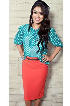 blue & white polka dot chiffon blouse and belted coral pencil skirt...MINE!