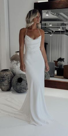 60 Trendy Wedding Dresses For 2020 ❤ trendy wedding dresses simple silk with spaghetti straps beach grace loves lace ❤ Long Wedding Dresses, Bridal Dresses, Wedding Gowns, Simple Beach Wedding Dresses, Bride Dress Simple, Plain Wedding Dress, Simple White Dress, Popular Wedding Dresses, Elegant Bridesmaid Dresses