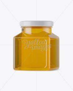 Glass Pure Honey Jar Mockup - Halfside View