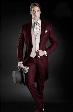2016 Morning Style Groom Tuxedos Peak Lapel Men's Suit Burgundy Groomsman/Best Man Wedding/Dinner Suits (Jacket+Pants+Tie+Vest)