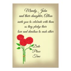 Wedding for Couple with Children Three Red Roses Card - rustic gifts ideas customize personalize