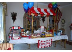 Circus party table... love the tent canopy idea.