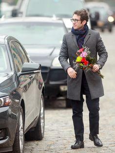 Josh Groban is seen on the movie set of Netflix's 'The Good Cop'.