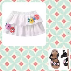 gymboree white skirt embroidered flowers, tropical breeze size 18-24mo New  | eBay