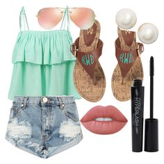 summer vibes by josiemae426 on Polyvore featuring polyvore LE3NO One Teaspoon Kate Spade Ray-Ban Smashbox Lime Crime fashion style clothing