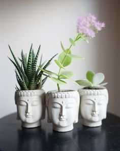 Set of Three Small Buddha Head Planters, Save 5 Dollars, Discount, Housewarming Gift, Garden Decor, Succulent Planter, Cement Planter