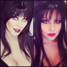 Testing out Elvira makeup for Halloween.  Clip in extensions and makeup.