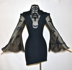 Vintage THIERRY MUGLER 3rd Eye Hooded Silk Angel Sleeve Black Dress