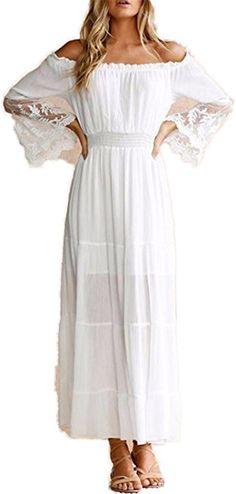 LONGTOU Women White Beach Dress Strapless Long Sleeve Loose Sexy Off Shoulder Lace Boho Cotton Maxi Dress at Amazon Women's Clothing store: