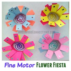 Fine Motor Flower Fiesta  executive functioning, hand strength, their pincer grasp, visual spatial skills, proprioception exercise, scissor and pre-writing skills all in one creative fine motor craft project.