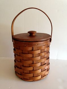 Vintage Woven Wood Basket metal lined Ice Bucket by LaDolfina, $48.00