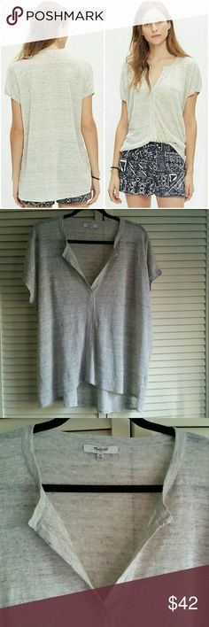 """💕 Madewell Linen Top Size M Madewell Interlude 100% linen top size M Made of soft lightweight linen, split neck, short sleeve Armpit to armpit measures 26"""", lenght on the front 26"""", lenght on the back 29"""" In excellent condition Madewell Tops"""