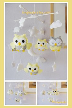 Baby Mobile - Owl Mobile - Nursery Mobile - Crib Mobile - Light Yellow Gray…