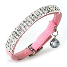 CHUKCHI Soft Velvet Safe Cat Adjustable Collar Bling Diamante With Bells,11 inch for small dogs and cats >>> Details can be found by clicking on the image. (This is an affiliate link and I receive a commission for the sales)
