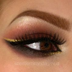 Long false lashes and gold liquid liner can instantly take your usual neutral eye makeup to the next level. See the wonderful products needed to create this stunning night out look here.