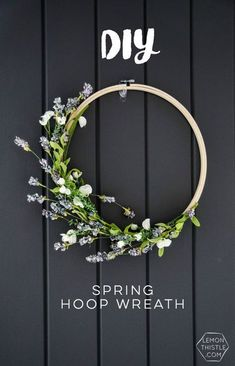 I love this simple spring hoop wreath! Perfectly spring-y without being over the top. #spring #springdecor #diy #wreath Diy Spring Decorations, Spring Home Decor, Spring Crafts, Lemon Wreath, Lavender Wreath, Embroidery Hoop Decor, Floral Embroidery, Simple Diy, Easy Diy