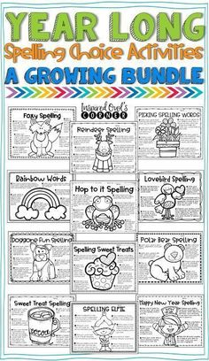 Monthly Spelling Choice Activities that are perfect for your or grade classroom during your literacy block/Daily {second third fourth grades spelling word work writing vocabulary} 3rd Grade Words, First Grade Spelling, 2nd Grade Ela, 3rd Grade Writing, 4th Grade Reading, Fourth Grade, Guided Reading, Grade 3 Art, 2nd Grade Homework