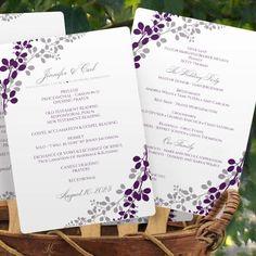 Program Fan Template   Exquisite Vines (Purple & Silver)