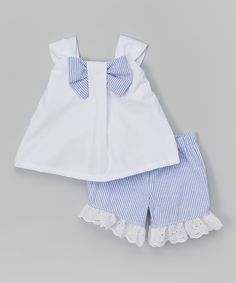 Look at this Caught Ya Lookin' White & Blue Bow Top & Shorts - Infant & Toddler on #zulily today!