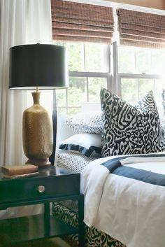 Dayka Robinson Designs - bedrooms - white, drapes, black, ribbon, trim, layered, bamboo, roman shades, glossy, black, lacquer, nightstands, ...