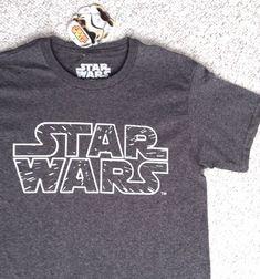 New Mens(Sm-Adult) STAR WARS T-SHIRT Classic Logo Dark-Gray/White Lightspeed NWT #StarWars #GraphicTee