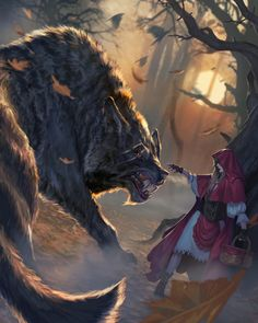 Red Riding Hood and ginormous wolf Dark Fantasy Art, Fantasy Wolf, Fantasy Kunst, Fantasy Artwork, Dark Art, Wolf Artwork, Anime Wolf, Fantasy Creatures, Mythical Creatures