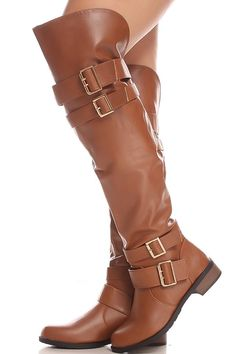 Cognac faux leather multi buckle strap side zipper over the knee boots