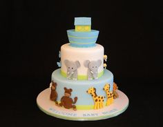 Noah's ark cake, hmm just a one layer with the animals around the side, cute