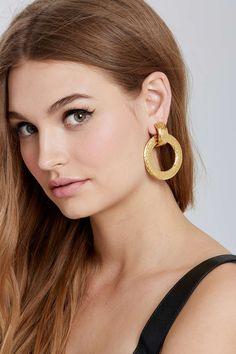Vintage Chanel Stamped Hoop Earrings | Shop All at Nasty Gal