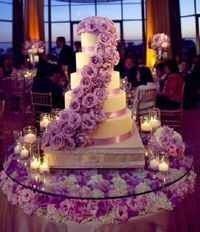 white and lavender wedding cake