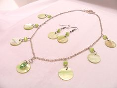 Soft green shell disc necklace and earring set by SparkleandComfort, $15.00