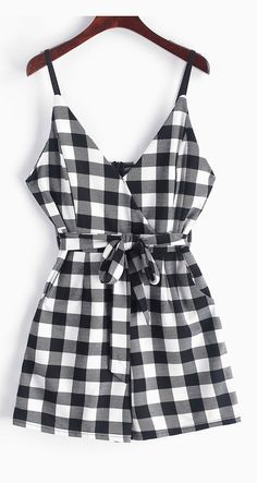 Belted Plaid Faux Surplice Cami Romper - Black Occasion: Casual ,Going Out Style: Casual Fit Type: Regular Collar-line: Spaghetti Strap Sleeves Length: Sleeveless Material: Polyester Pattern Type: Plaid Source by zaful Rompers Cute Comfy Outfits, Cute Summer Outfits, Stylish Outfits, Plaid Outfits, Black Romper, Teenager Outfits, Outfits For Teens, Rompers Women, Cute Rompers