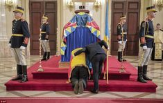 A steward checks on a man who kneeled by the coffin of late Romanian King Michael, at the former royal palace Prince Phillip, Prince Charles, Michael I Of Romania, Von Hohenzollern, Royal Engagement, Duchess Of Cornwall, Royal Palace, Kaiser, Prince Of Wales